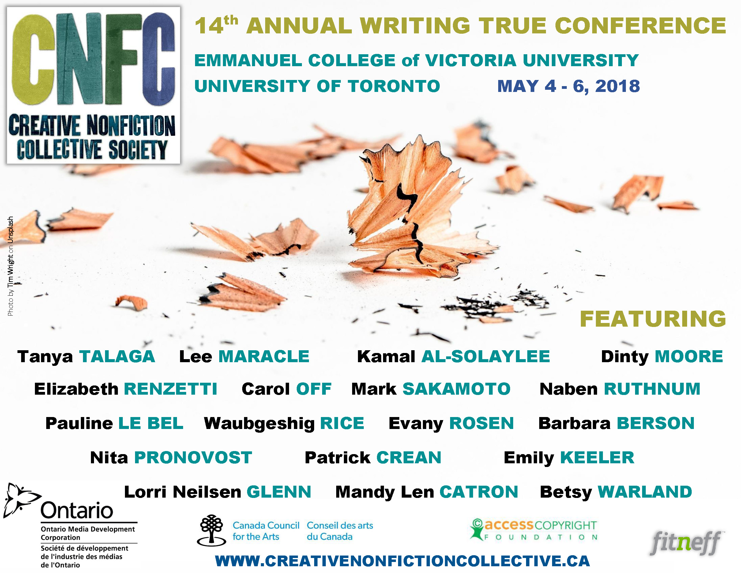 Poster for the 2018 Creative Nonfiction Collective Society Conference